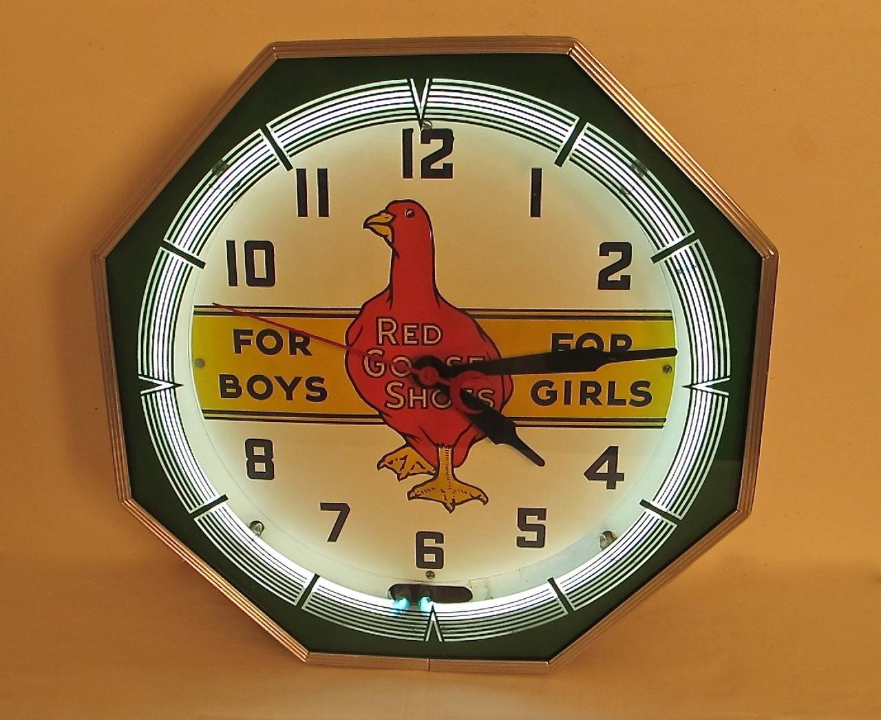 Vintage Quot Red Goose Shoes Quot Neon Clock At 1stdibs