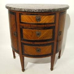 Mahogany Demi Lune Cabinet with Marble Top French 19th. Century