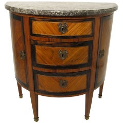 French Parquetry Demilune Cabinet