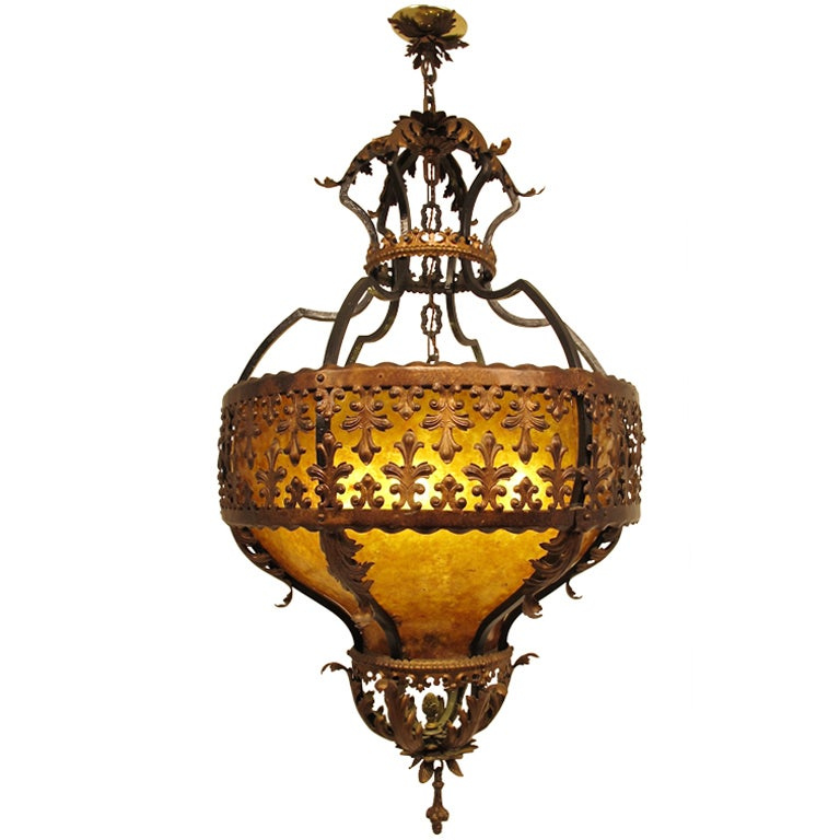wrought iron and mica light fixture chandelier at 1stdibs. Black Bedroom Furniture Sets. Home Design Ideas