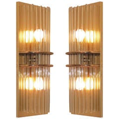Pair of Mid Century Brass and Glass Wall Sconces