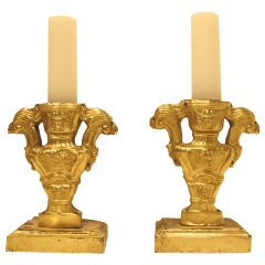 Pair of 18th Century Italian Wood and Brass Pricket Candleholders