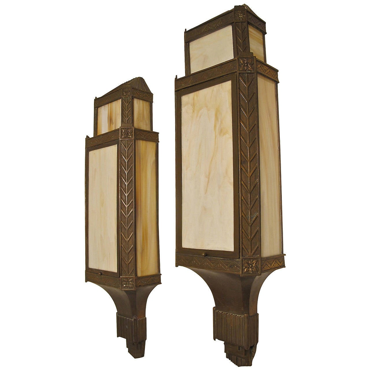 Wall Sconces Art Deco : Large Bronze Art Deco Wall Sconces at 1stdibs