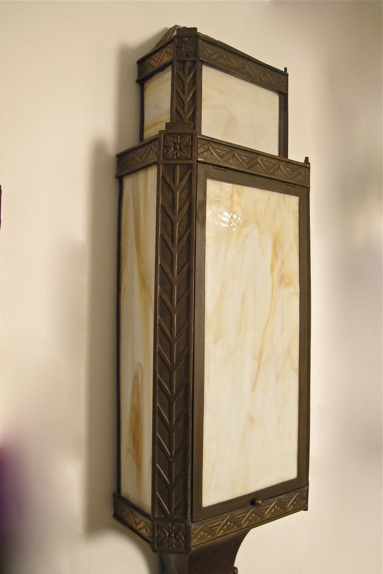 Large Bronze Wall Sconces : Large Bronze Art Deco Wall Sconces at 1stdibs