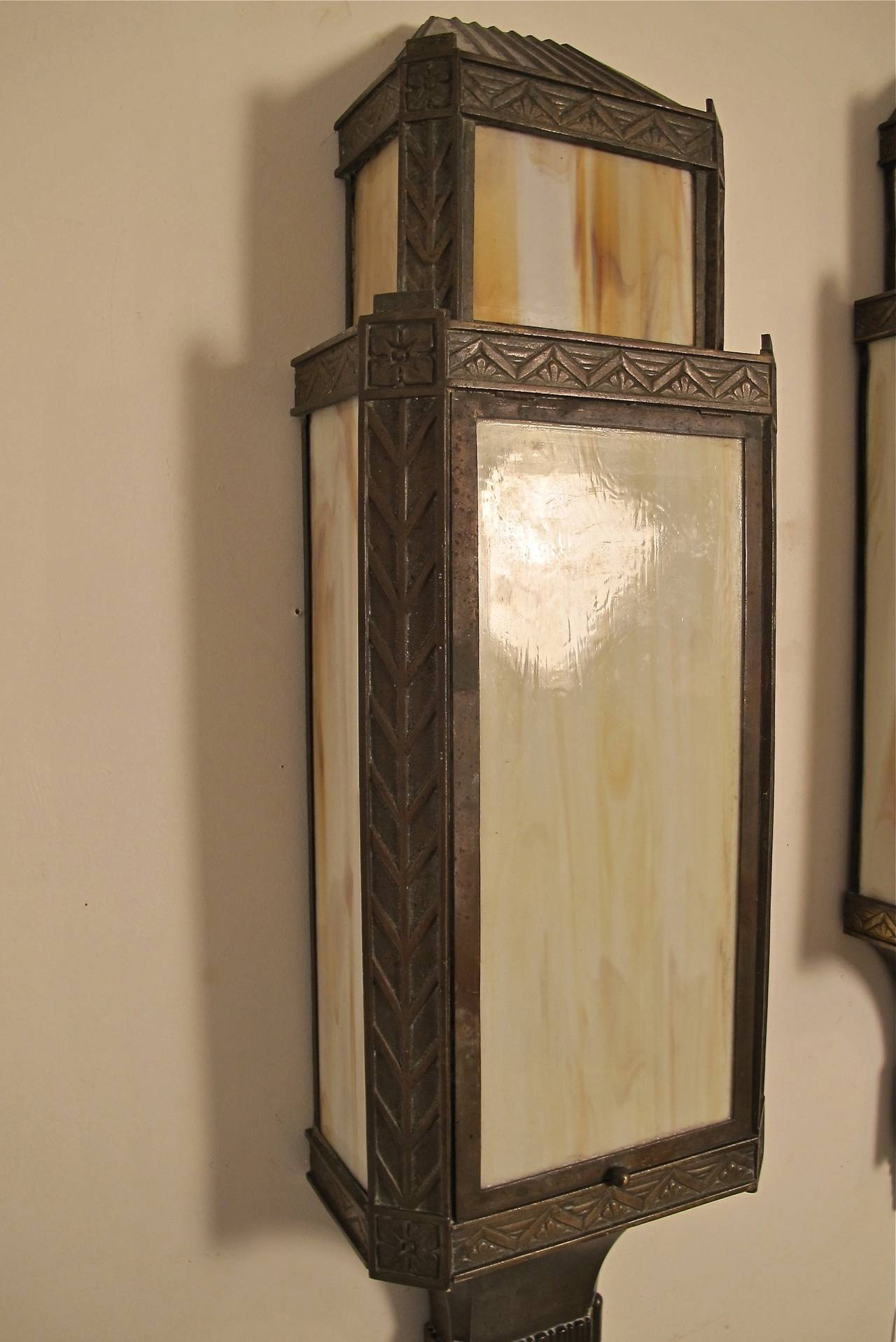 Wall Sconces Deco : Large Bronze Art Deco Wall Sconces at 1stdibs