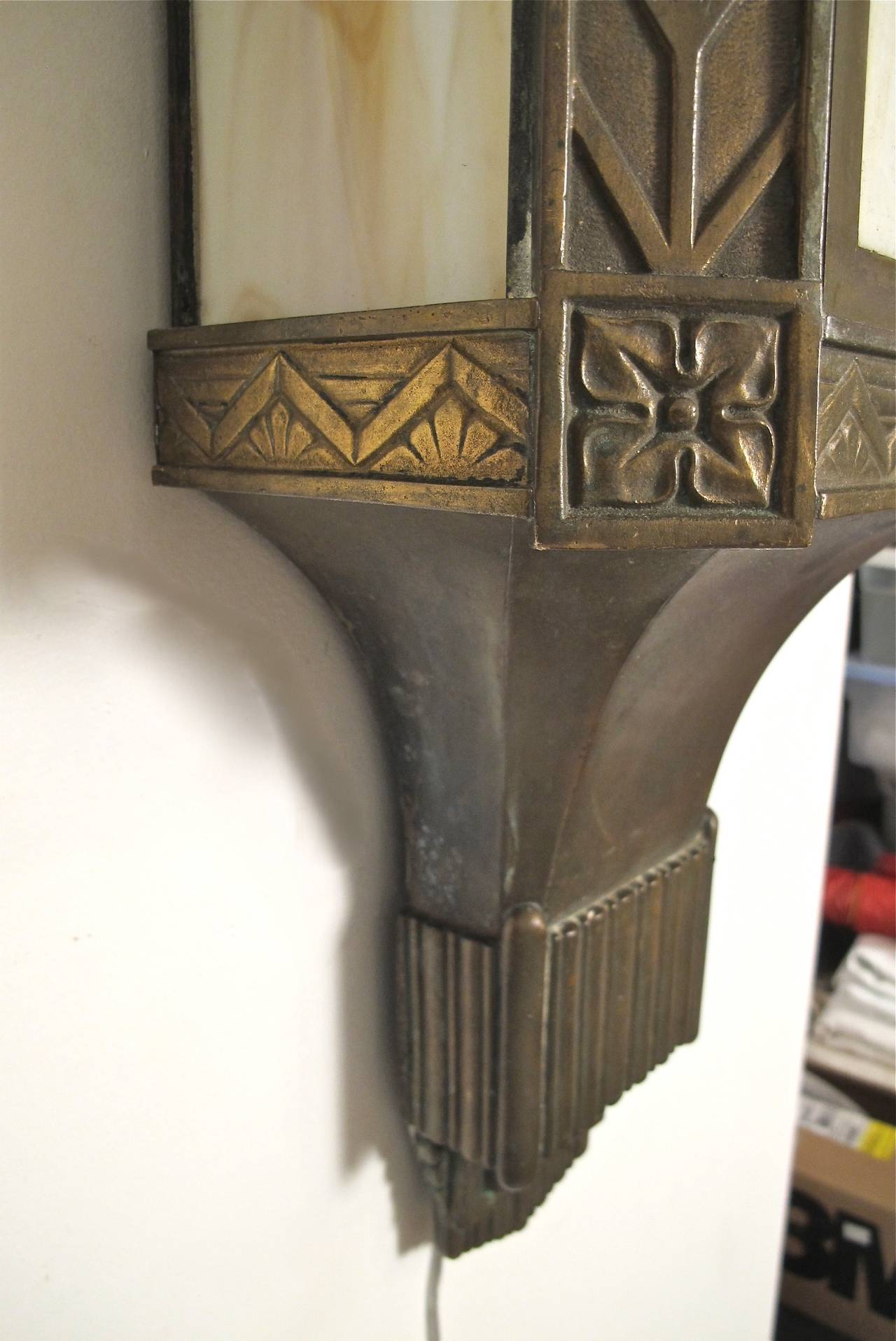 Large Art Deco Wall Sconces : Large Bronze Art Deco Wall Sconces at 1stdibs