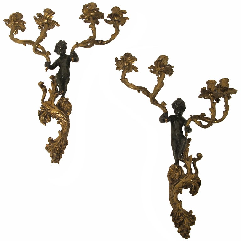 19thC French Bronze Sconces 1