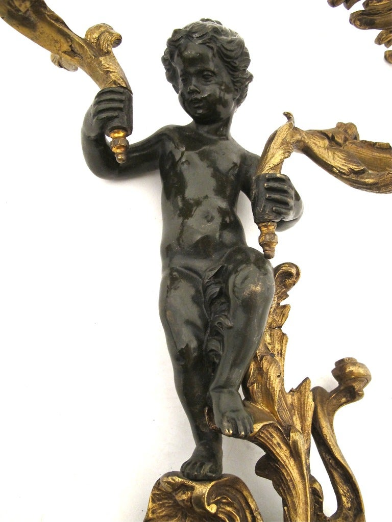 19thC French Bronze Sconces 5