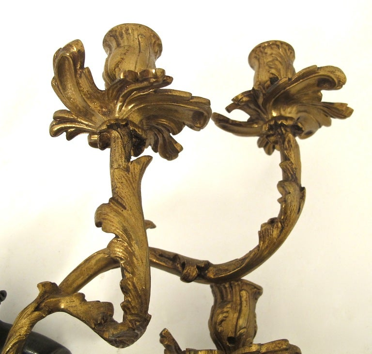 19thC French Bronze Sconces 6