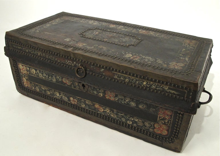 19th Century Chinese Export Hand Painted Trunk For Sale