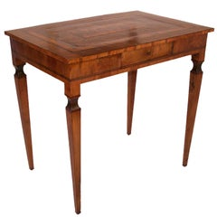 Italian Walnut and Mixed Fruitwood Marquetry Inlay Table, 18th Century