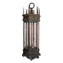 Monumental Bronze Exterior Lantern with Textured Glass Panels