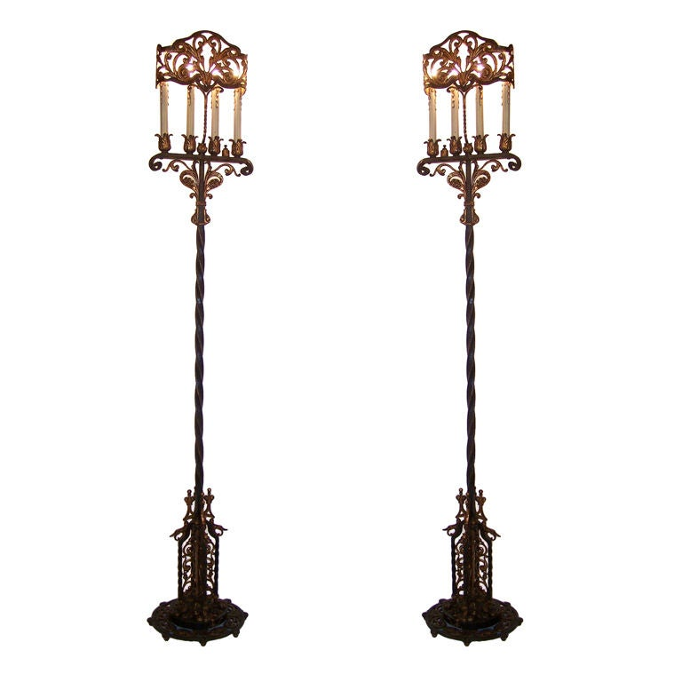 pair of wrought iron torchiere floor lamps at 1stdibs. Black Bedroom Furniture Sets. Home Design Ideas