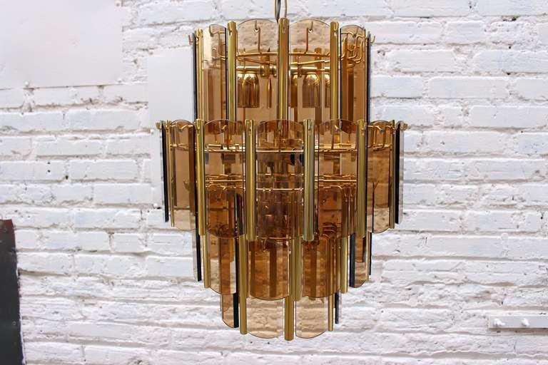 Mid-Century Modern Italian Brass Chandelier For Sale