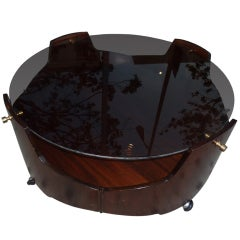 Italian Round Coffee Table With Fume Glass Top .