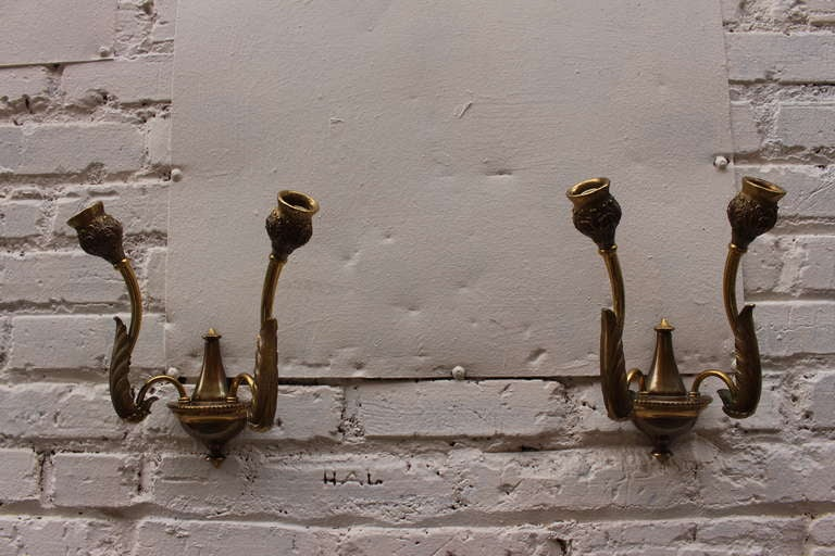 Italian Bronze Wall Sconces For Sale 1