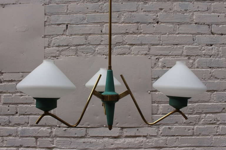 1950s, Italian Brass Chandelier For Sale 1