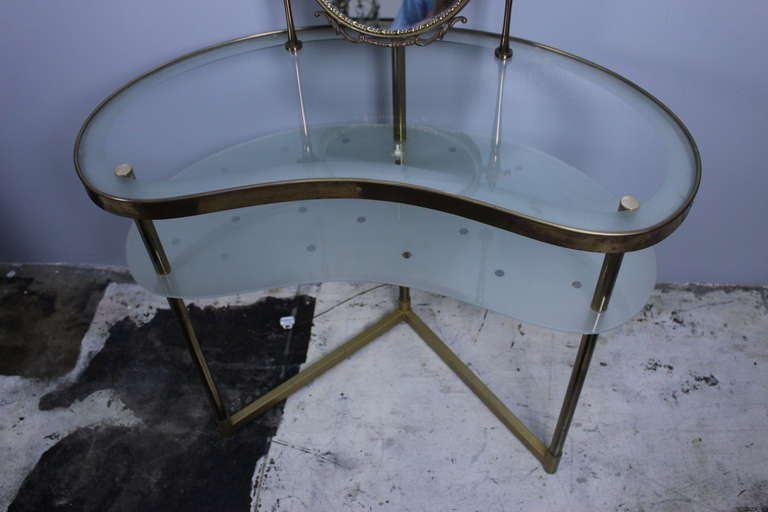 Italian Brass and Glass Dressing Table 4