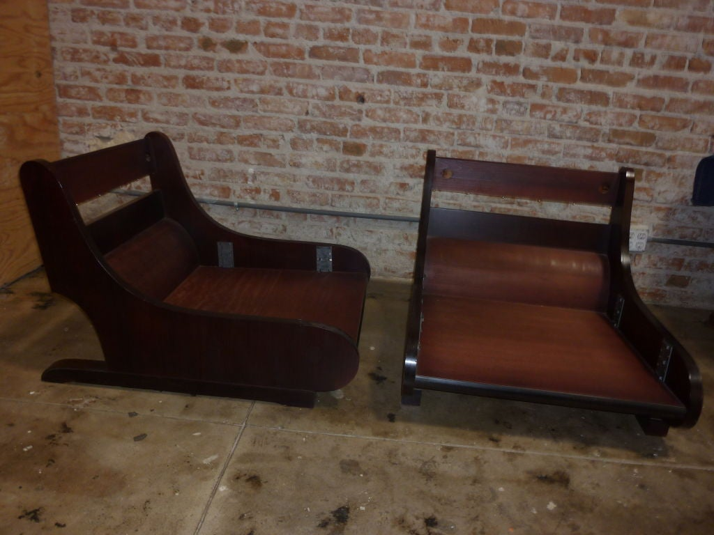 Wood Pair of Sormani Lounge Chairs For Sale