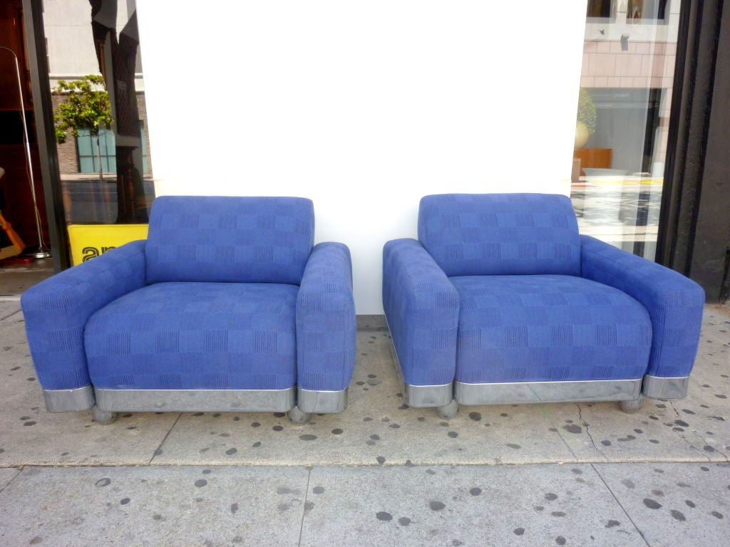 Pair of lounge chairs. New upholstery.