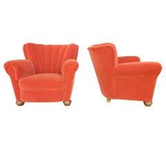 Italian 1940's Pair of Club Chairs