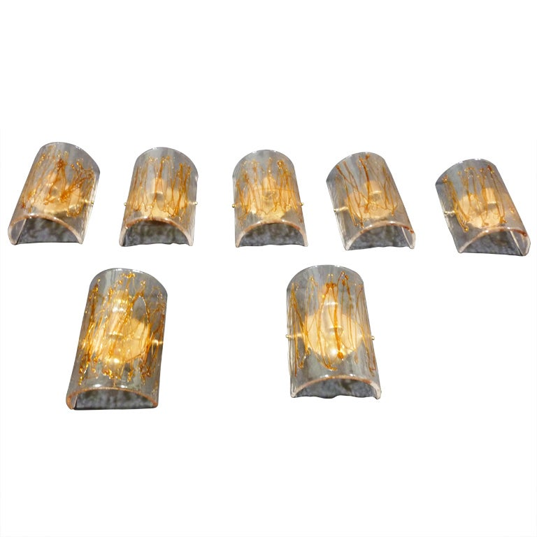 Italian Glass Wall Sconces : Italian Glass Wall Sconces Attributed to Mazzega at 1stdibs