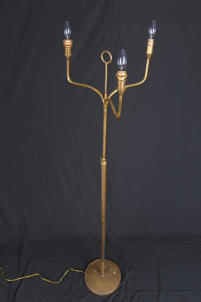 Art Deco Italian Brass Floor Lamp For Sale 1