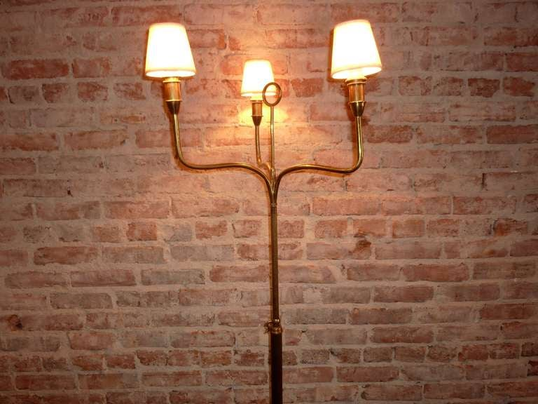 Art Deco Italian Brass Floor Lamp In Good Condition For Sale In Los Angeles, CA