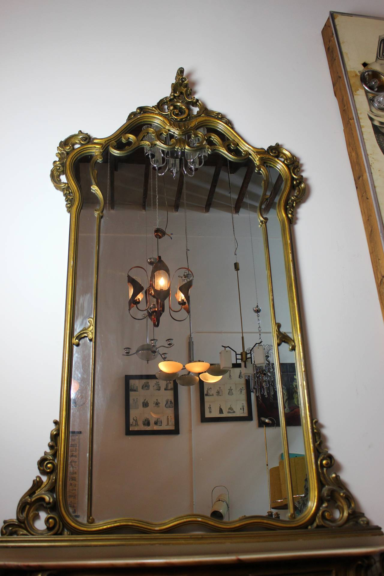 Mid-20th Century French Console with Mirror For Sale