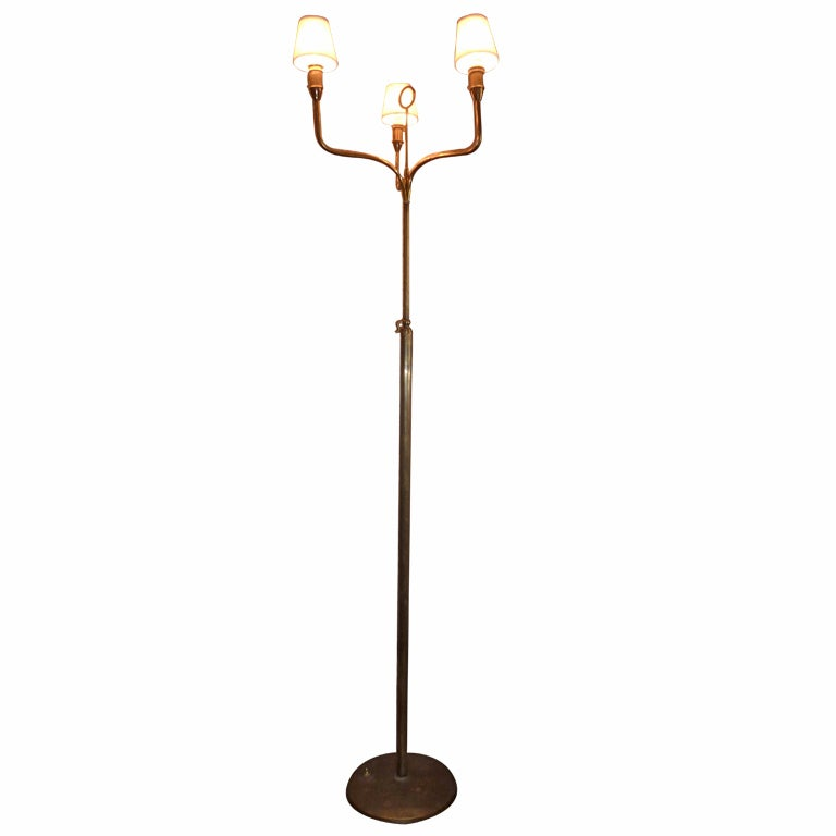Art Deco Italian Brass Floor Lamp For Sale