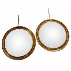Sergio Mazza Pair of Brass Mirrors