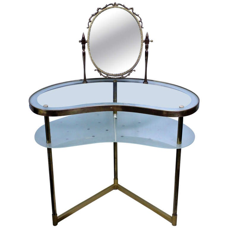 Italian Brass and Glass Dressing Table 1