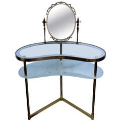 Italian Brass and Glass Dressing Table