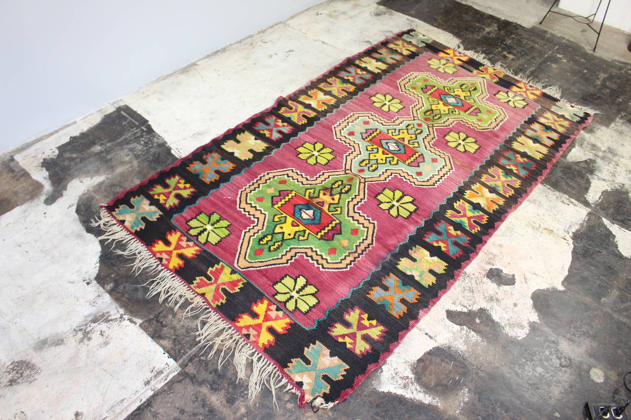 Balkan Antique Turkish Kilim from Bosnia For Sale