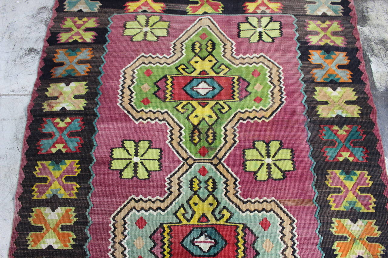 Antique Turkish Kilim from Bosnia. Balkan Kilim.