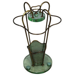 Glass, Brass Umbrella Stand after Fontana Arte, Italy, circa 1950