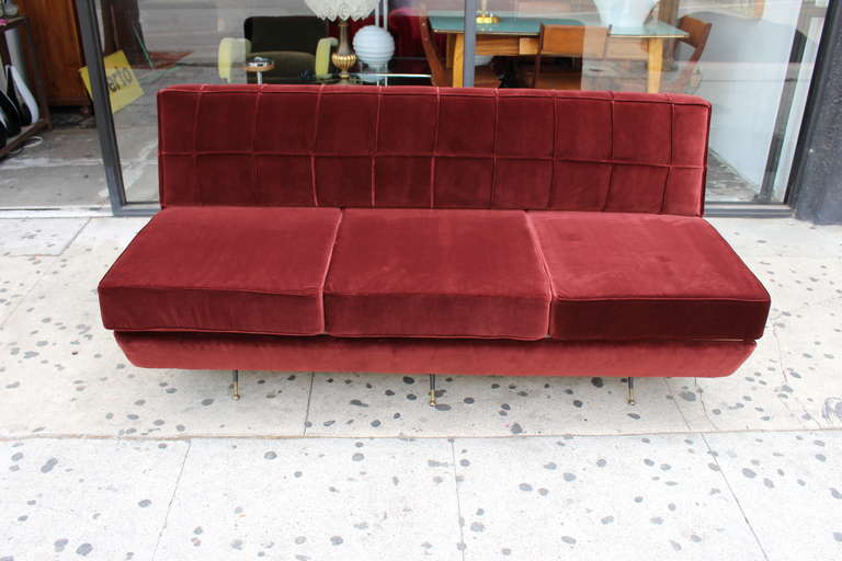 Italian Sofa after Marco Zanuso, circa 1960s Divano Sleep-o-Matic In Excellent Condition For Sale In Los Angeles, CA