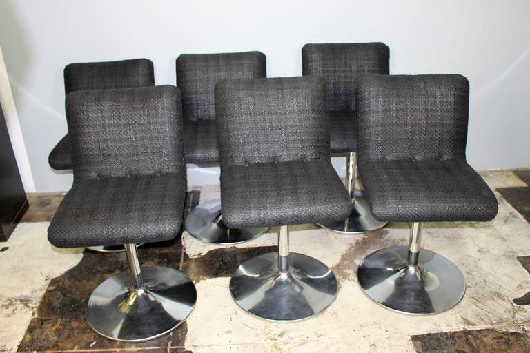 Six Italian swivel bar stools, new upholstery, chrome base.