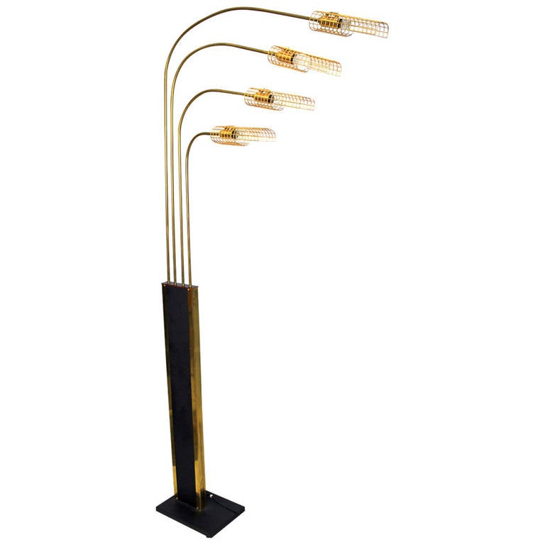 Italian Brass Floor Lamp, 1970s For Sale