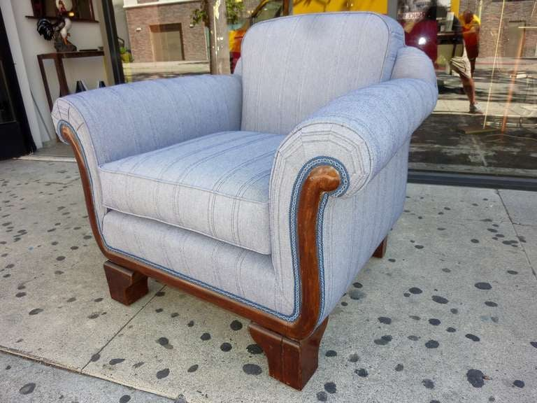 Hungarian Art Deco armchair, new reupholstered in Eger Italian cotton material. Chair is sign on the bottom Gyula Felker.