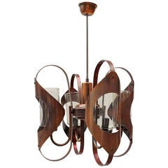 French Art Deco Copper Chandelier