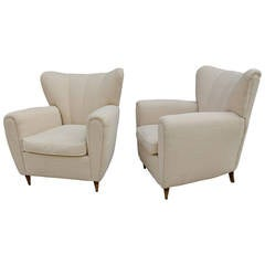Pair of Italian Club Chairs in Style of Guglielmo Ulrich
