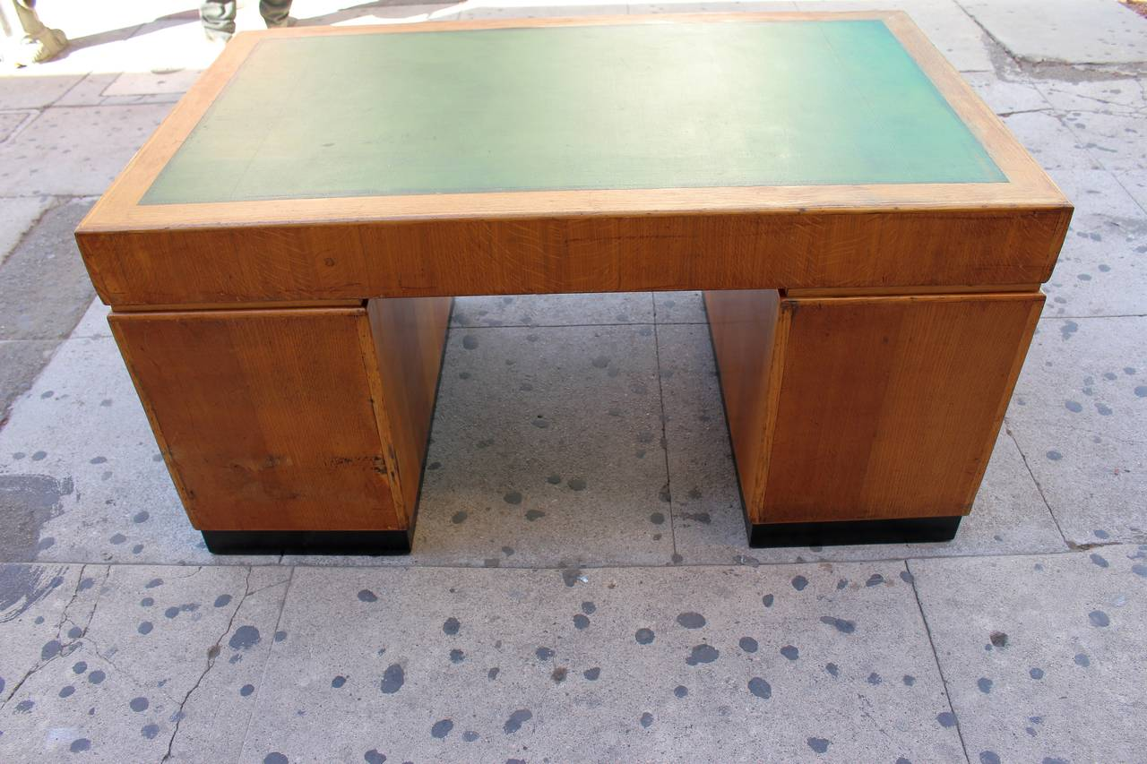 Mid-20th Century Art Deco Desk with the Leather Top For Sale