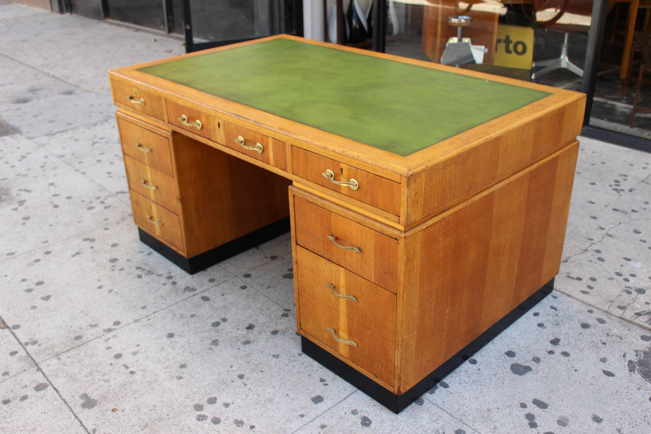 Art Deco Desk with the Leather Top In Good Condition For Sale In Los Angeles, CA
