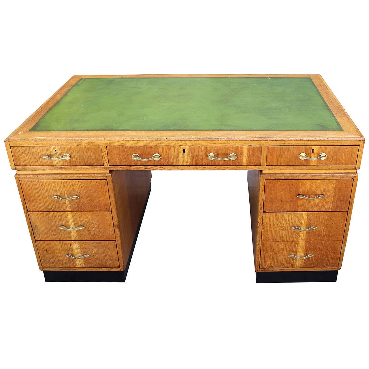 Art Deco Desk with the Leather Top For Sale