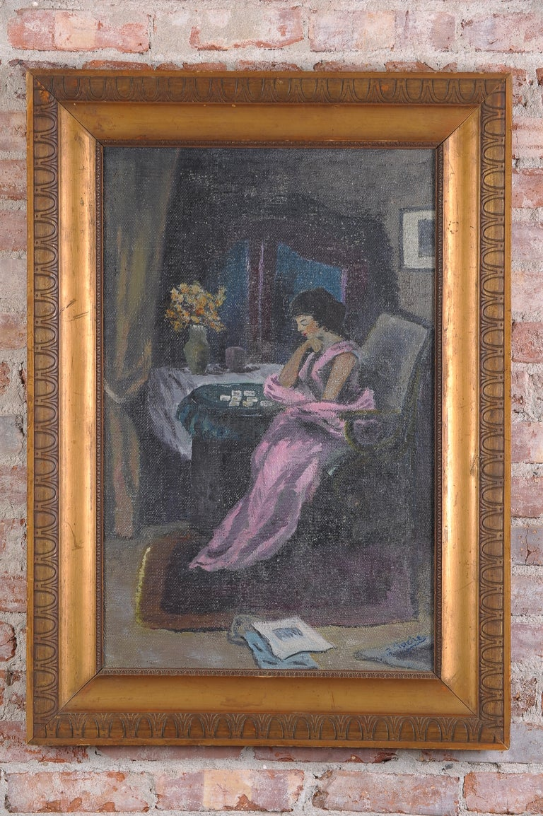 art deco french oil painting for sale at 1stdibs