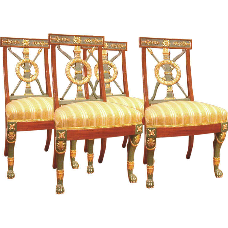 Set Of Four Russian Neoclassical Chairs At 1stdibs
