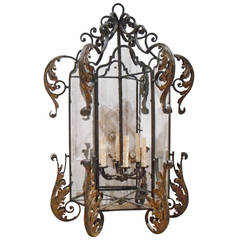 Wrought Iron and Parcel-Gilt Large Hall Lantern