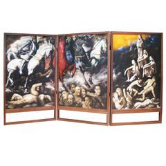 Oil on Canvas Triptych of Horsemen by Enrique Senis Oliver