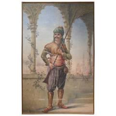 Painted Needlework Panel Depicting an Orientalist Figure
